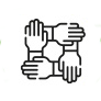 Cartoon of four hands holding each other